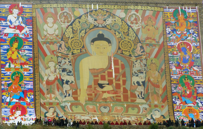 Sagadawa; wielka thangka w Gyantse
